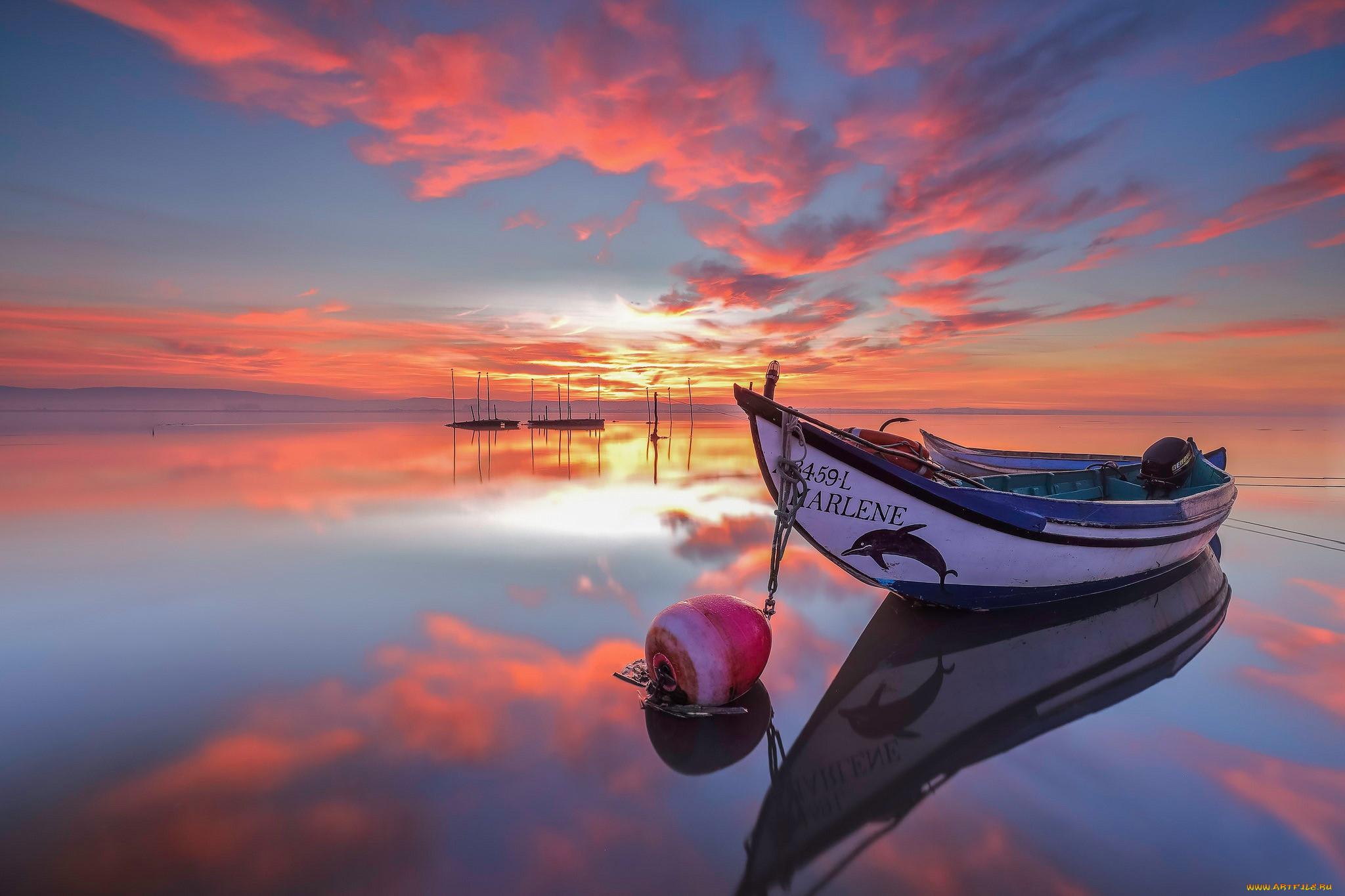 корабли, моторные лодки, закат, моторка, река